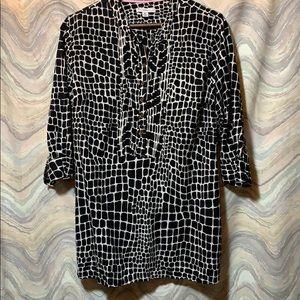 Animal print, cotton tunic top XL Black & white